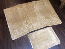 ROMANY TOURER SIZE TRAVELLERS SET NON SLIP SUPER THICK LIGHT BEIGE WASHABLE RUGS
